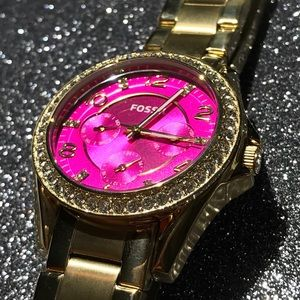 Pink and gold Fossil watch